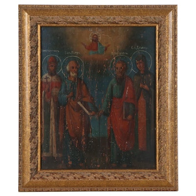 Russian School Oil Painting of Religious Icons, Early-Mid 20th Century