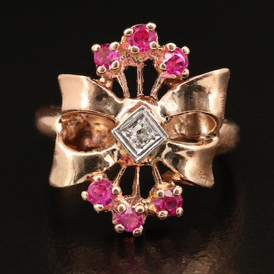 Retro 14K Rose Gold Ruby and Diamond Ring with Palladium Setting