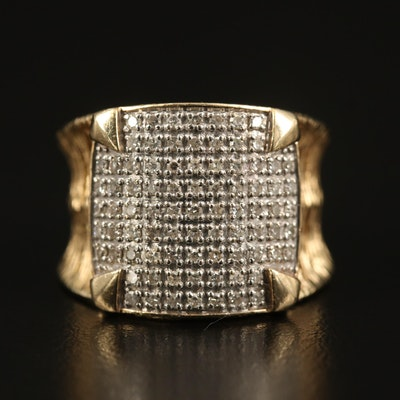 14K Pavé Diamond Openwork Ring