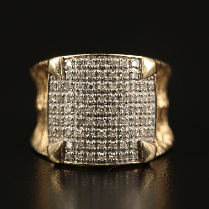 14K Pavé Diamond Openwork Ring
