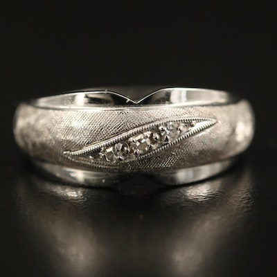 14K Diamond Band with Florentine Finish