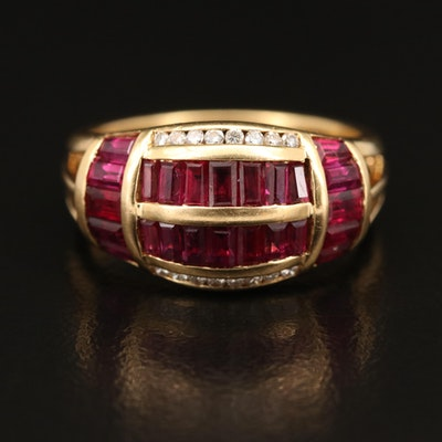 18K Ruby and Diamond Domed Ring