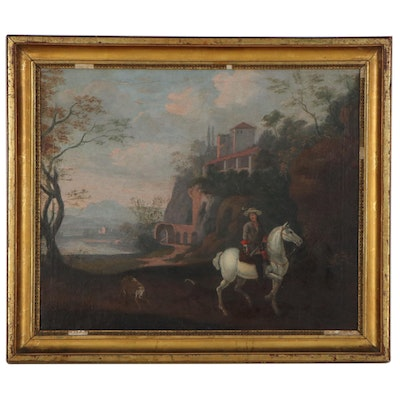 Continental School Landscape Oil Painting of Horseback Rider, Late 19th Century