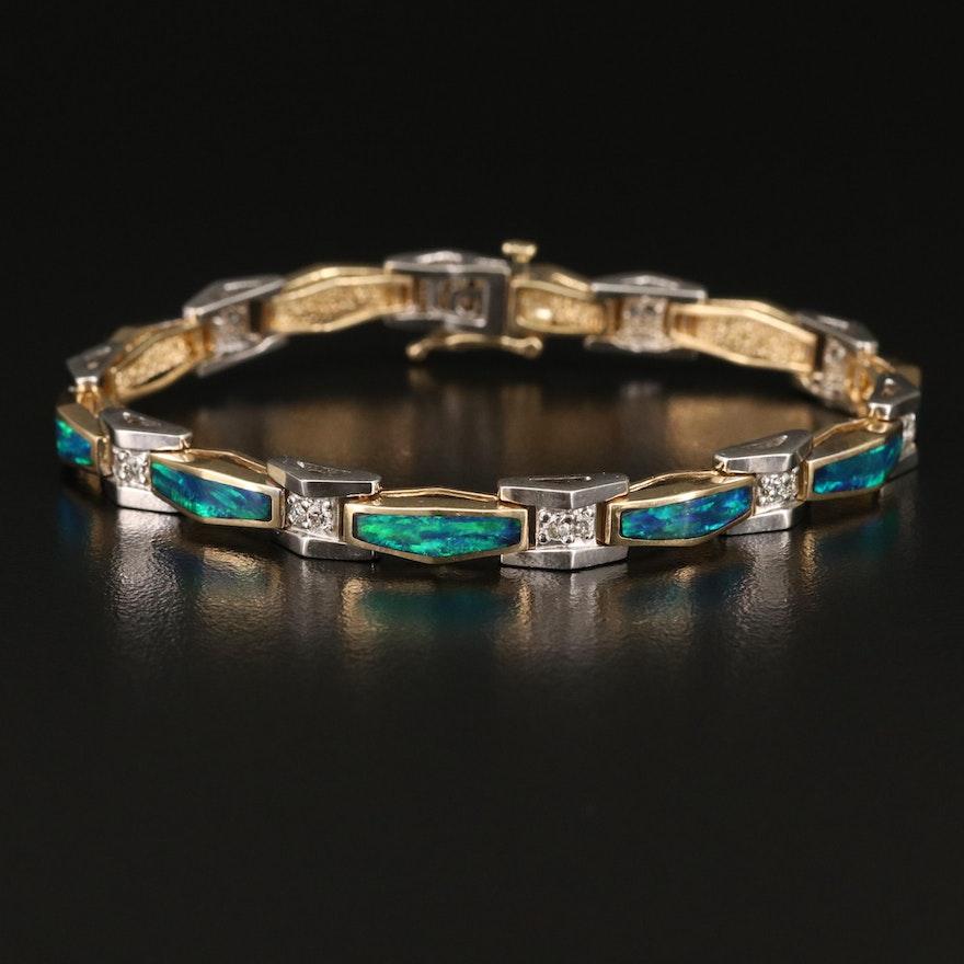 14K Two Tone Opal and Diamond Geometric Link Bracelet