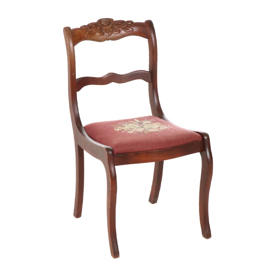 Classical Style Cherrywood and Needlepoint Side Chair, 20th Century