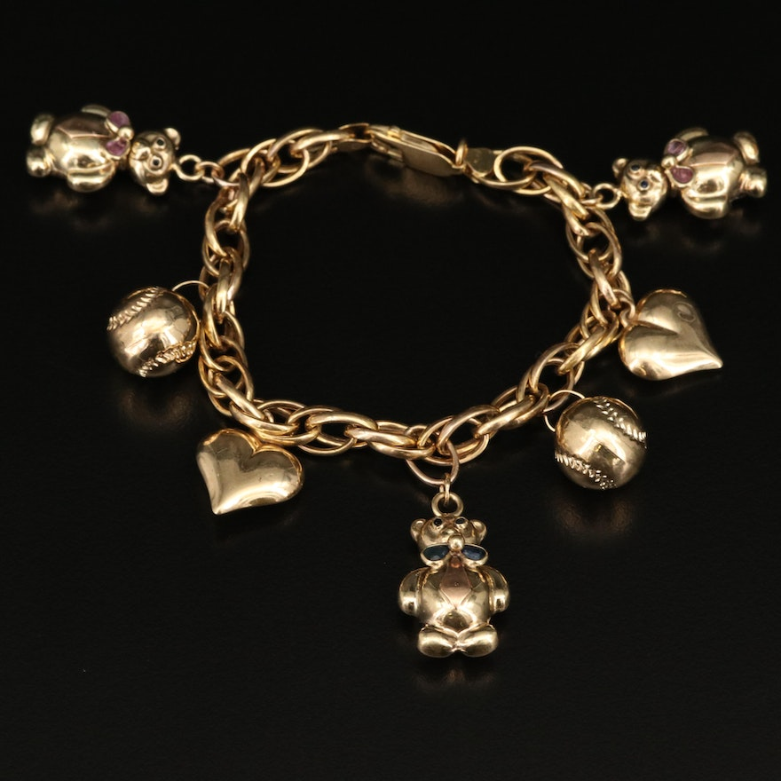 Italian 14K Charm Bracelet with Rubies and Sapphires