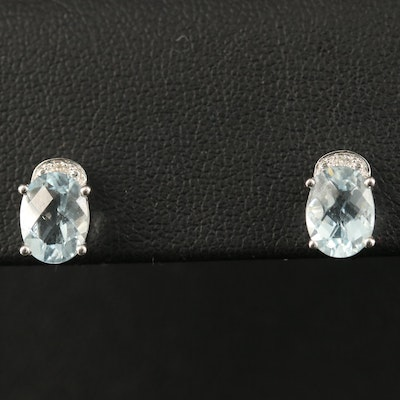 14K Aquamarine and Diamond Stud Earrings