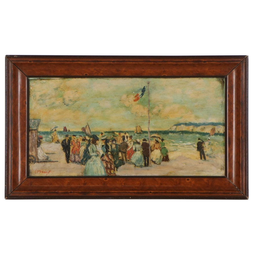 Oil Painting In the Manner of Eugène Boudin of Figures on the Beach