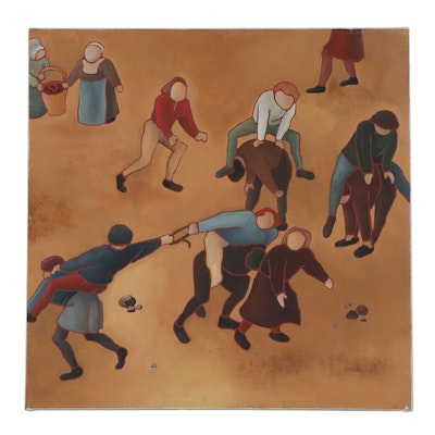 Figural Folk Art Style Oil Painting, Late 20th Century