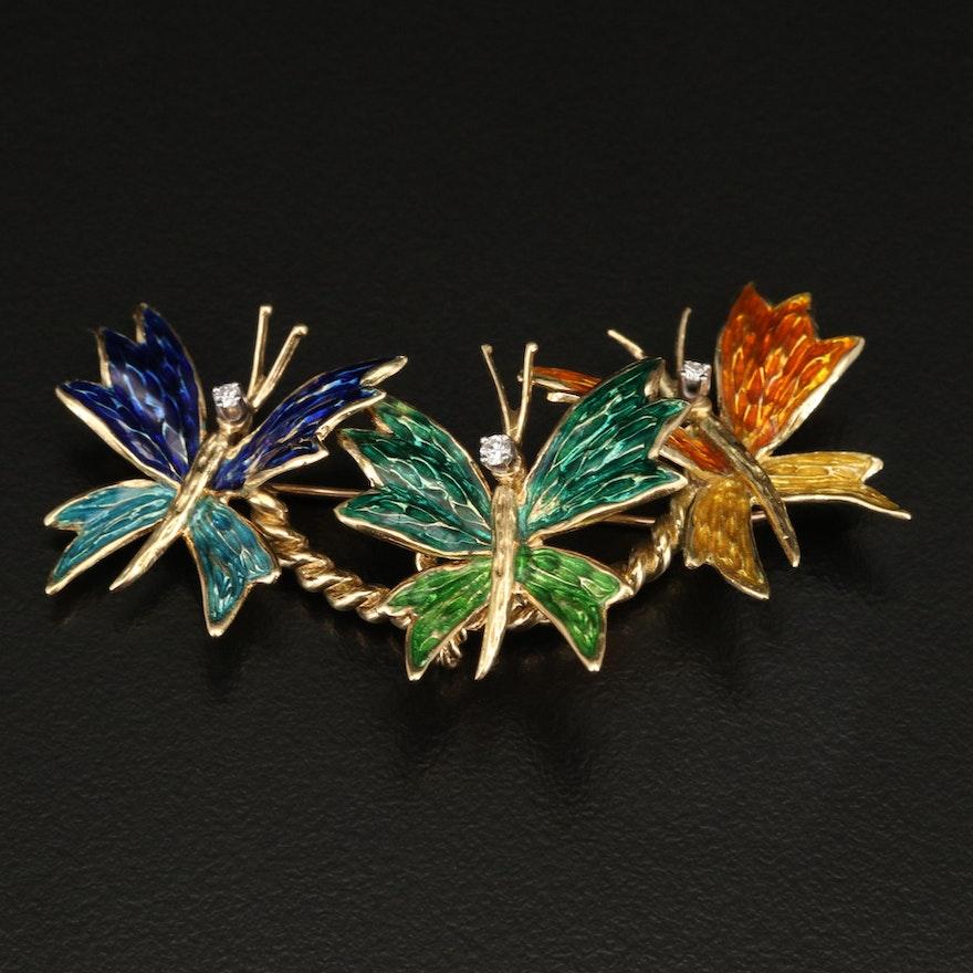 18K Diamond and Enamel Butterfly Brooch