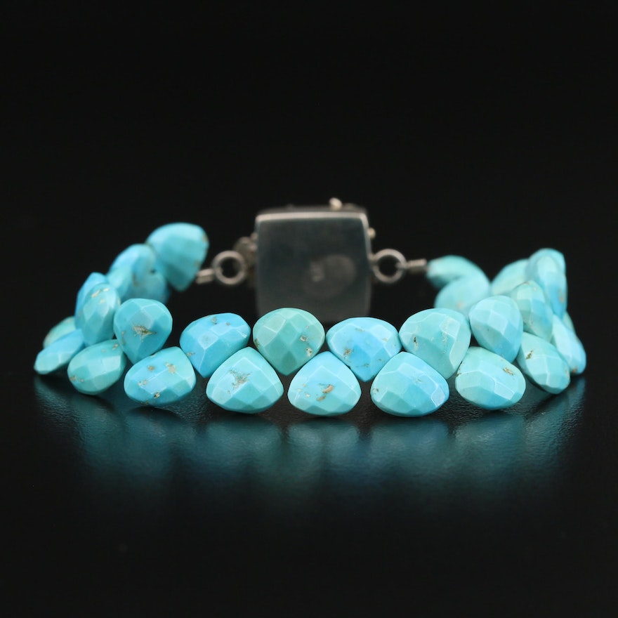 Turquoise Bead Bracelet with Sterling Scrollwork Clasp