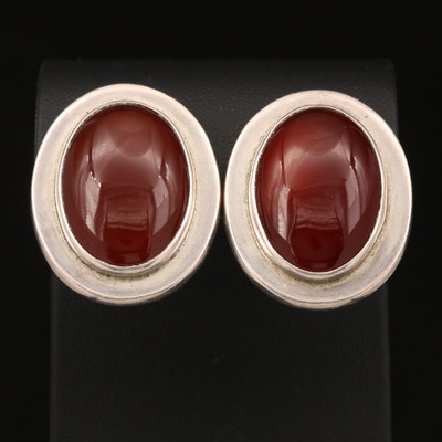 Sterling Carnelian Clip Earrings