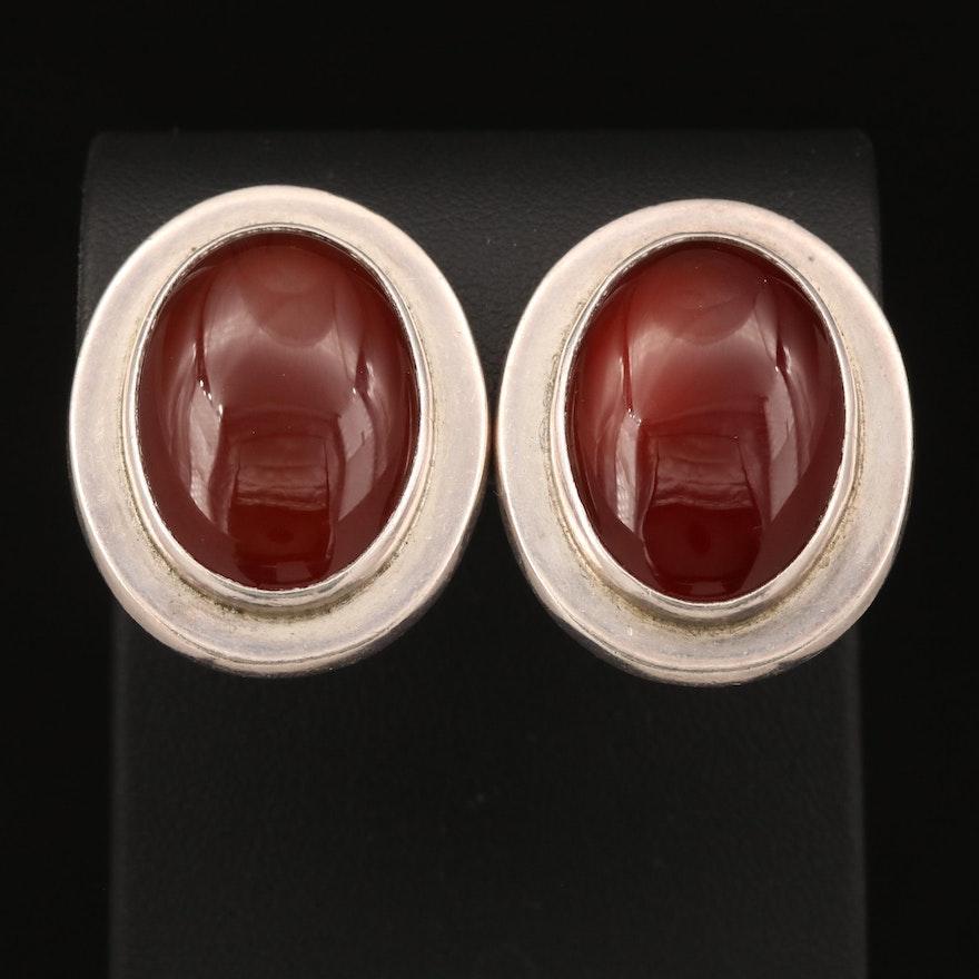 Sterling Carnelian Clip Earrings