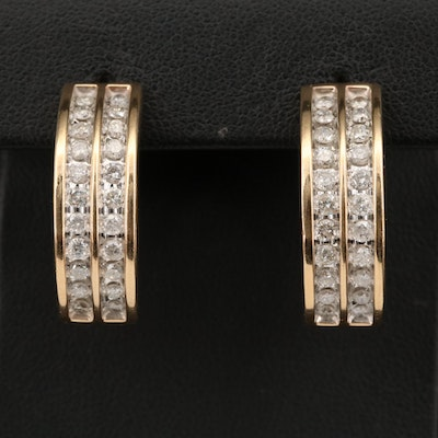 10K 1.76 CTW Diamond J-Hoop Earrings