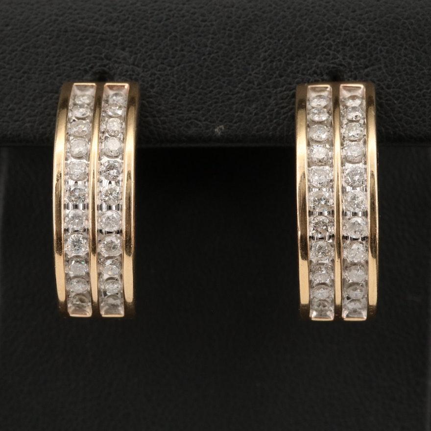 10K 1.76 CTW Diamond J-Hoop Earrings