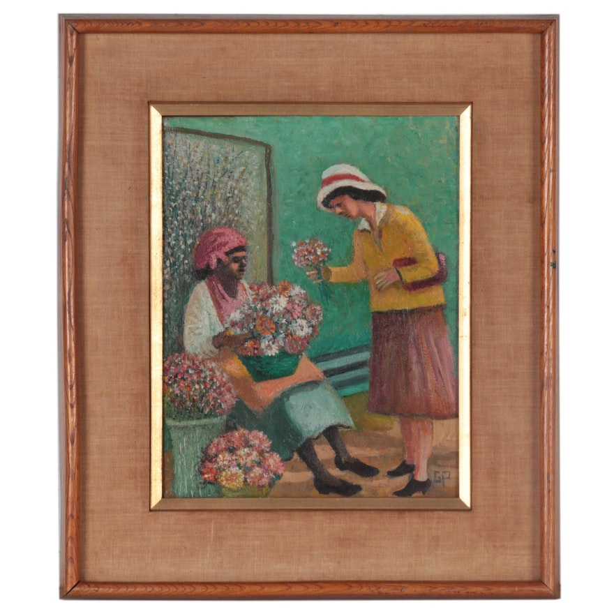 """Goldie Paley Oil Painting """"The Flower Woman,"""" Mid-20th Century"""