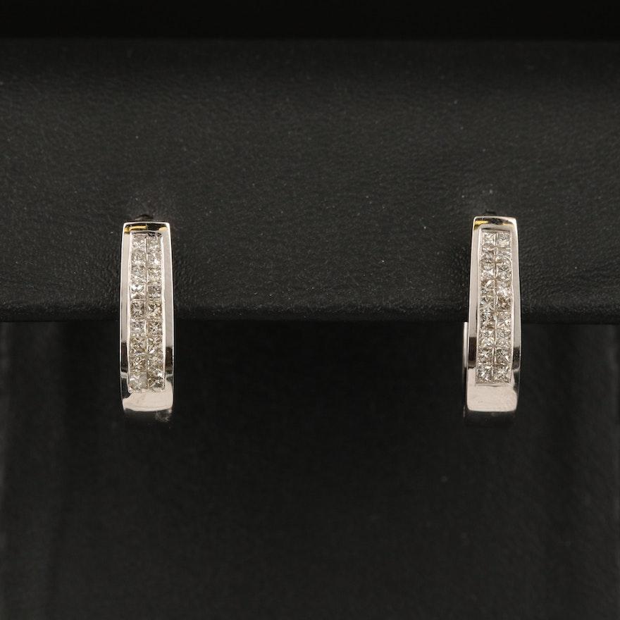 14K Diamond Oval Hoop Earrings