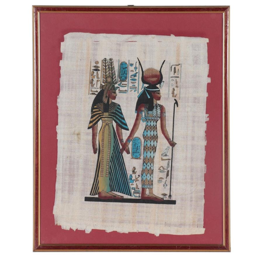 Egyptian Gouache on Papyrus Painting