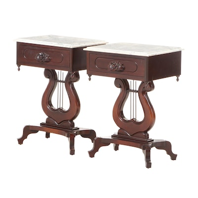 Pair of Classical Style Mahogany and Italian Marble Top Side Tables