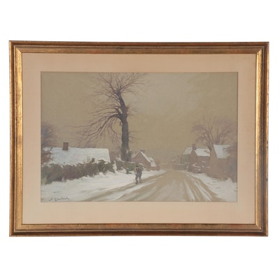 Lucien Georges Goubert Winter Streetscape Gouache Painting, Mid-20th Century