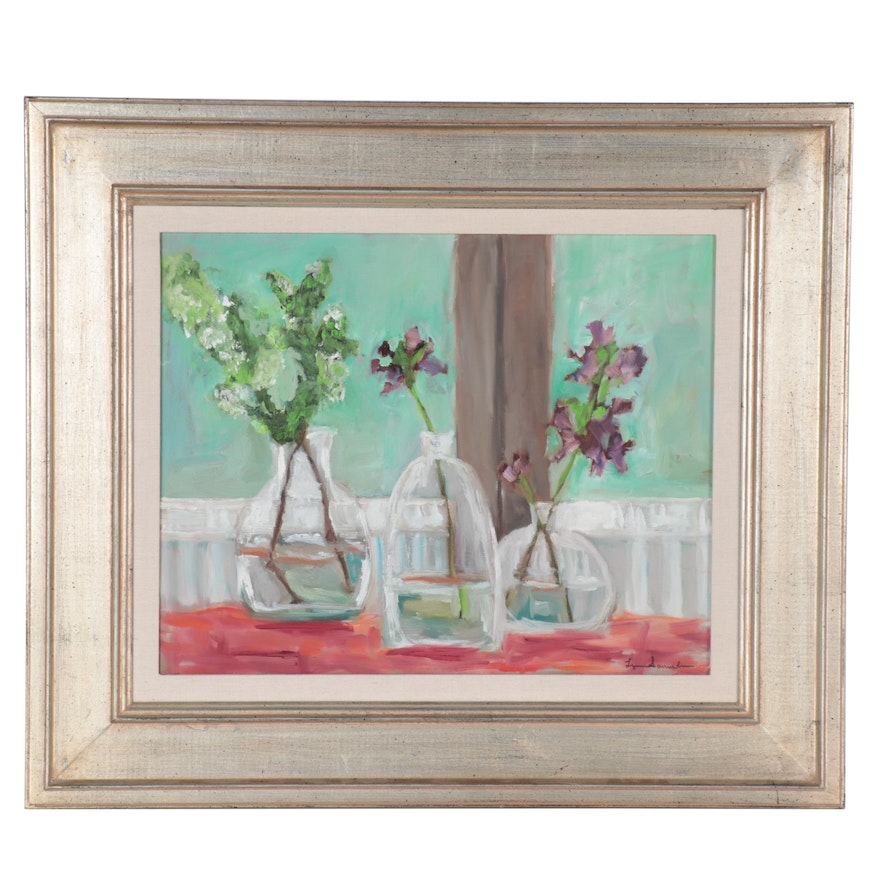 """Still Life Oil Painting """"Porch Flowers,"""" 2006"""