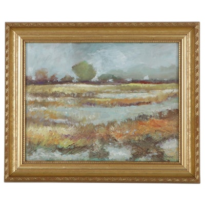 "Robert Riddle-Baker Acrylic Painting ""Near Brunswick Georgia,"" 2021"