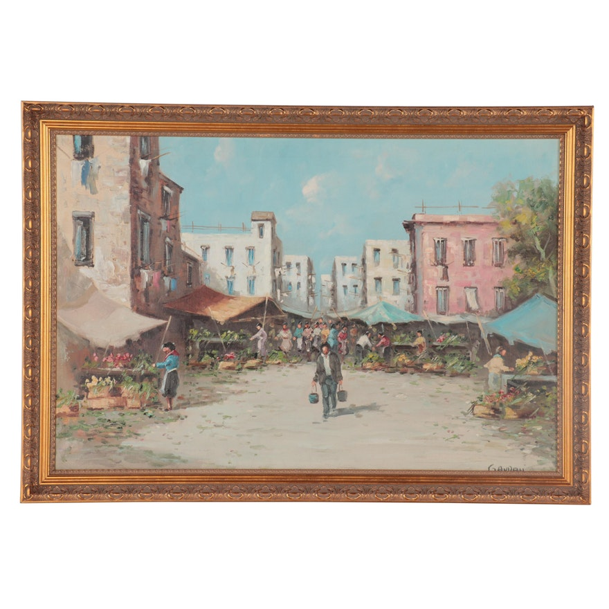 Genre Oil Painting of Farmers Market, Late 20th Century