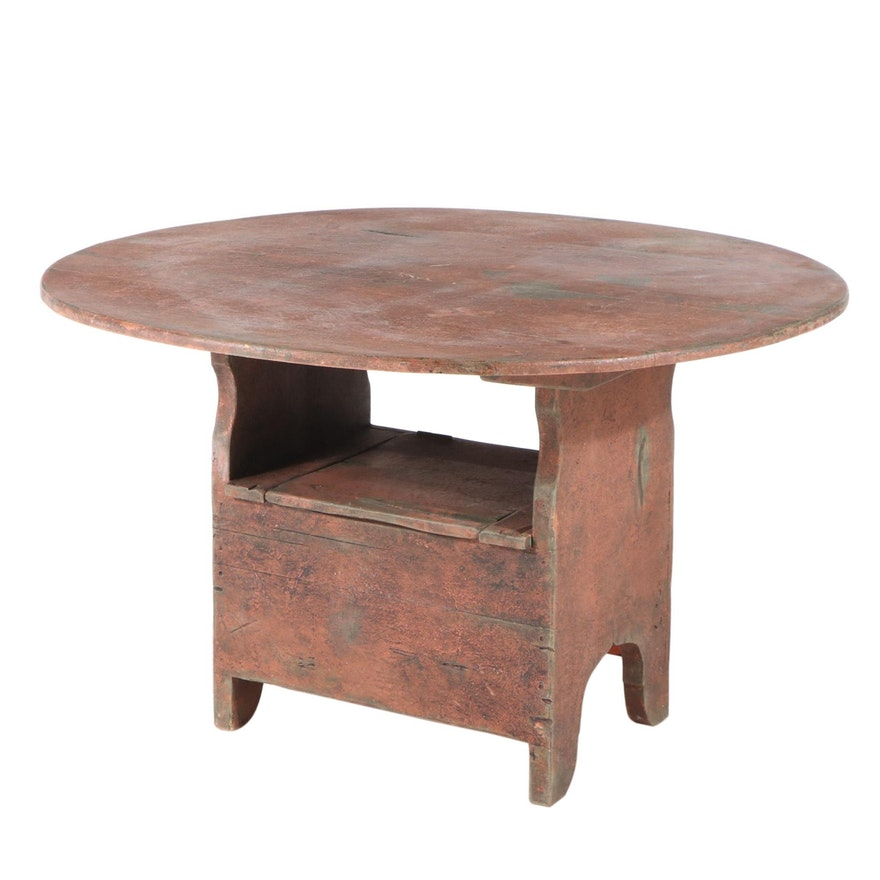 American Primitive Red-Painted Pine Convertible Hutch Table, 19th Century