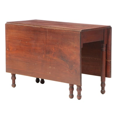 American Primitive Walnut Drop-Leaf Table, 19th Century