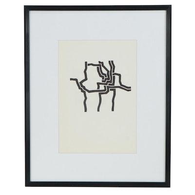 """Eduardo Chillida Lithograph """"Mas Alla"""" for """"Derrière le Miroir,"""" 1974"""