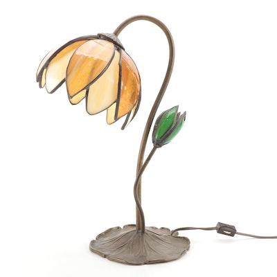 Lotus Shape Patinated Bronze and Caramel Slag Glass Desk Lamp, Mid-20th C