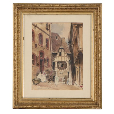 Francis Hopkinson Smith Watercolor Painting of Street Scene