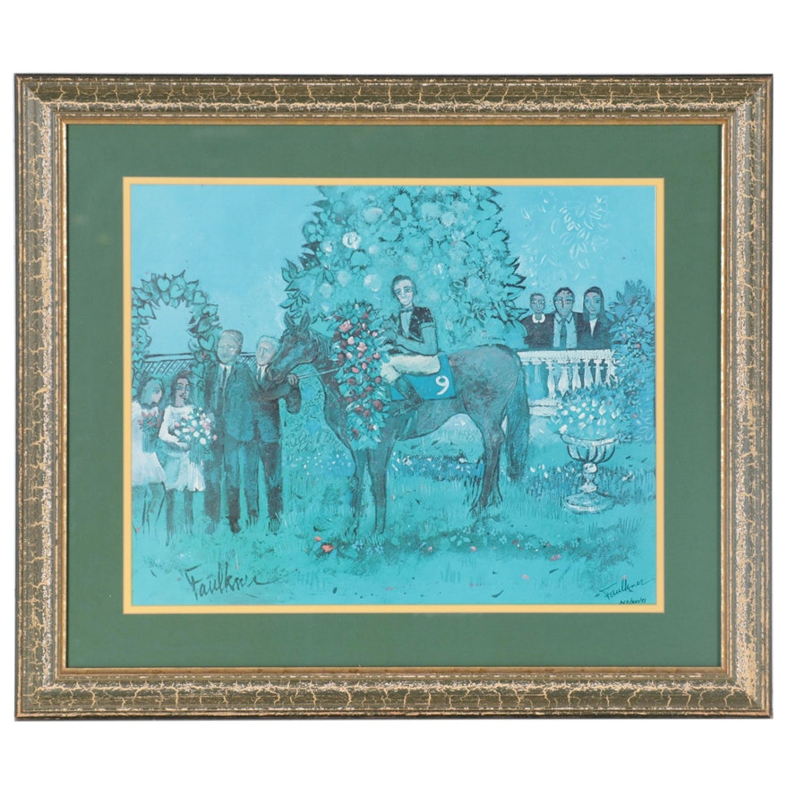 """Henry Faulkner Offset Lithograph """"In the Winner's Circle,"""" Late 20th Century"""