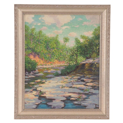 Riverbed Landscape Oil Painting, Mid-20th Century