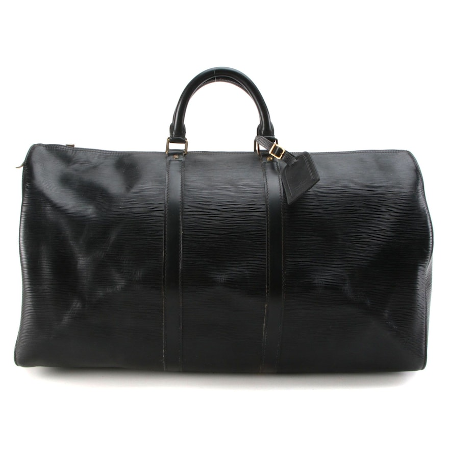 Louis Vuitton Keepall 55 Travel Bag in Black Epi and Smooth Leather