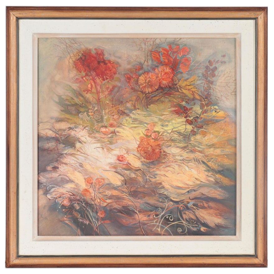Abstract Floral Oil Painting, Late 20th Century