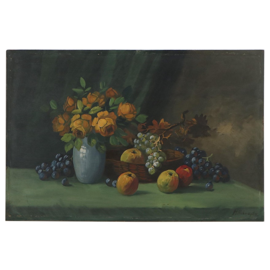 H. Hubregtse Still Life Oil Painting of Fruit and Flowers, Early 20th Century