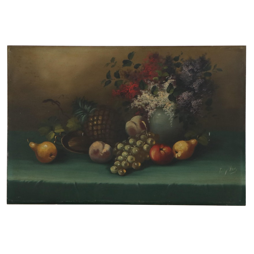 Tilly Moes Still Life Oil Painting of Fruit and Flowers, Early 20th Century