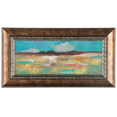 """Robert Riddle-Baker Acrylic Painting """"A Day at the Beach,"""" 2021"""