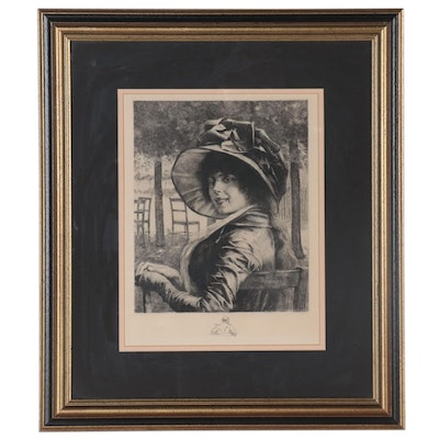Engraving after Albert Edelfelt of Woman in Hat, Early 20th Century