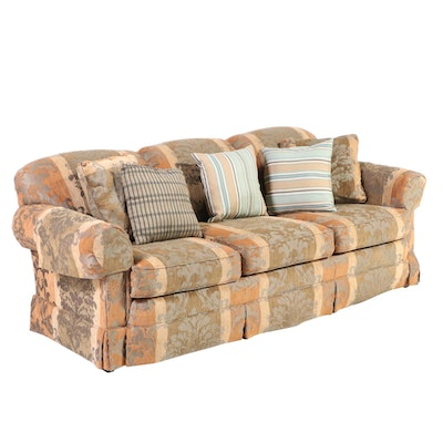 Wesley Hall Upholstered Rolled Arm Sofa with Accent Pillows