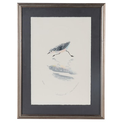 "Richard E. Williams Embossed Lithograph ""Sandpiper II,"" Late 20th Century"