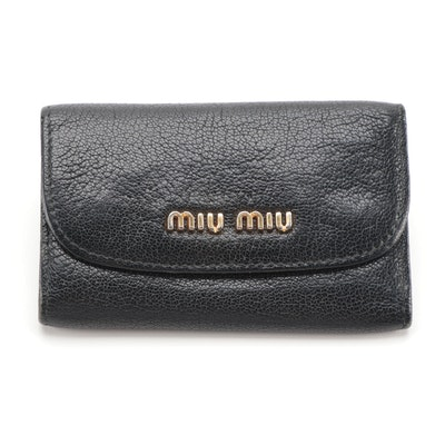 Miu Miu Key Holder in Black Vitello Lux Leather
