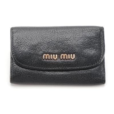 Miu Miu Key Holder in Black Vitello Lux Leather