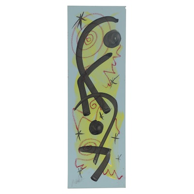Peter Keil Abstract Mixed Media Painting, Late 20th Century