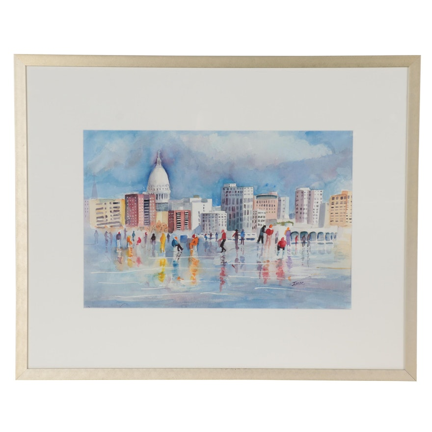Cityscape Watercolor Painting, Late 20th Century