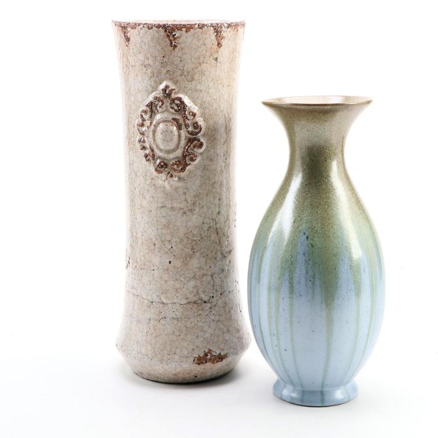 Chinese Stoneware Vase with Ceramic Crackle Glaze Vessel