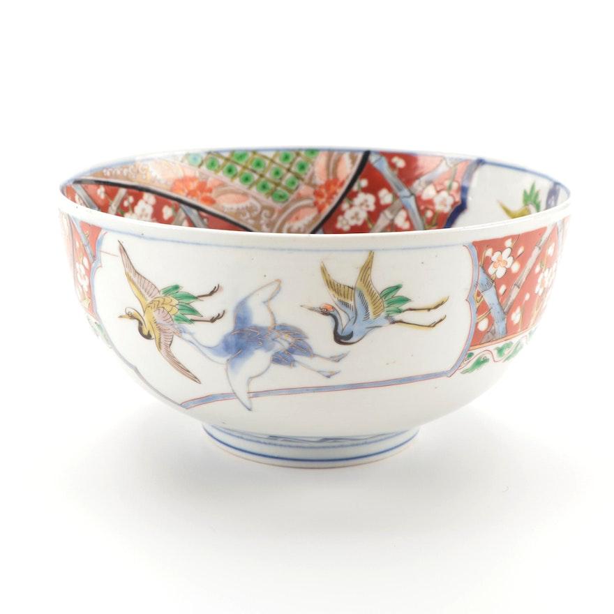 Japanese Imari Porcelain Bowl with Crane Motif