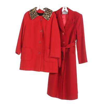 Red Camel Hair Belted Coat and Red Stroller Coat with Faux Fur Collar