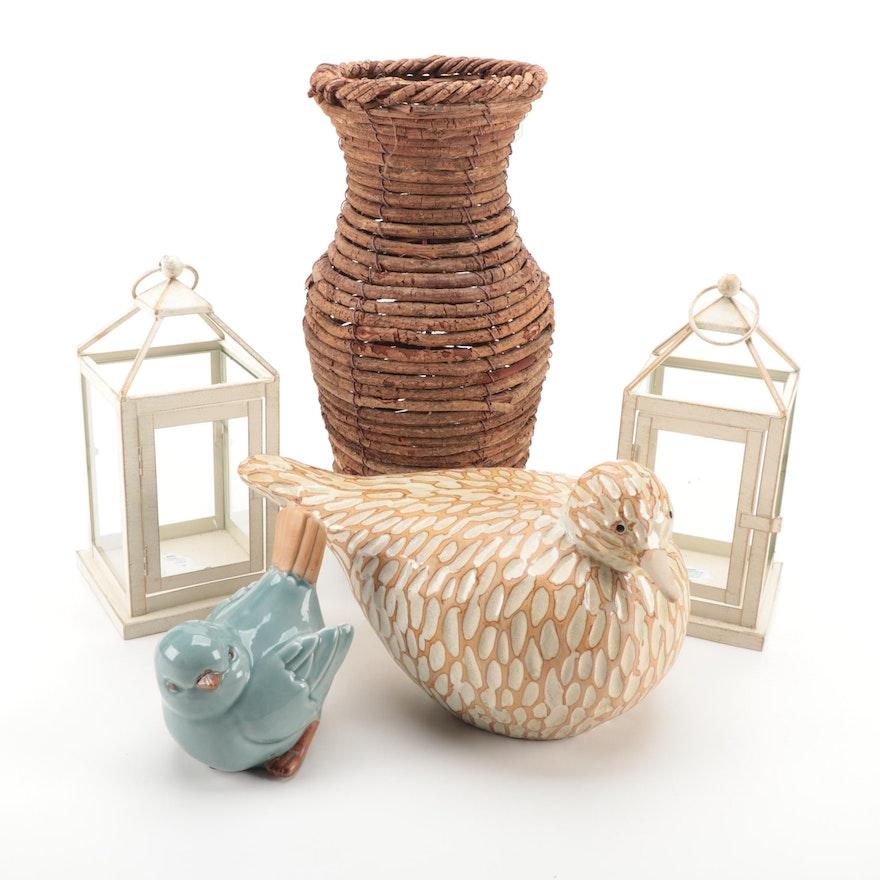 Ceramic Birds, Wicker Vase, and Lanterns, Contemporary